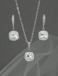 Crystal Bridal SET, Cushion Cut Wedding SET, Swarovski