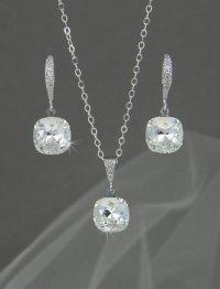 Crystal Bridal SET, Cushion Cut Wedding SET, Swarovski ...