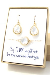 Clear Crystal / Gold Teardrop Earring And Round Bracelet ...