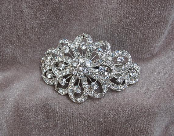 rhinestone bridal barrette hair clip wedding hair clip special occasion fancy hair clip