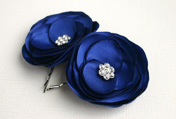 blue bridal flower hair clips wedding flower hair accessories royal blue flower hair clips blue flower hair pins
