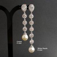 Extra Long Wedding Pearl Earrings Cubic Zirconia Pearl ...