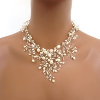 Bridal Freshwater Pearl Necklace Set, Wedding Jewelry Set