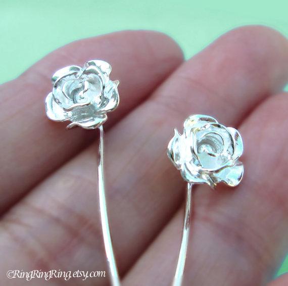 Long Stem Rose Flower Earrings, Sterling Silver Post Stud