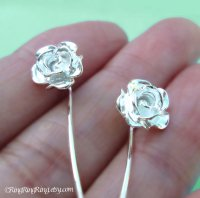 Long Stem Rose Flower Earrings, Sterling Silver Post Stud