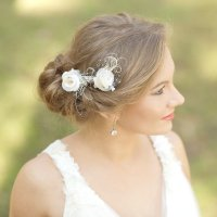 Burlap Wedding Hair Piece Rustic Wedding Hairpiece Vintage ...