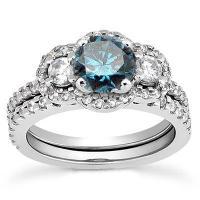 1.75CT 3-Stone Blue Diamond Engagement Ring Matching ...