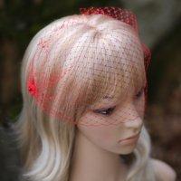 Red Birdcage Veil French Net Floral Embellishments Bridal ...