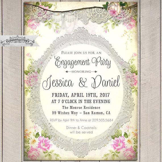Shabby Chic Engagement Party Invitations Romantic Vintage