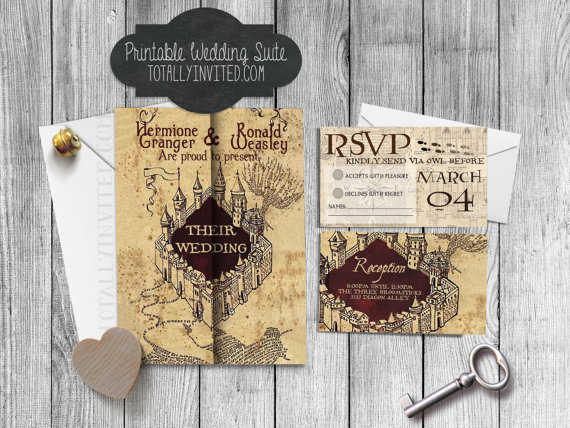 Harry Potter Wedding Invitation Set Marauder S Map