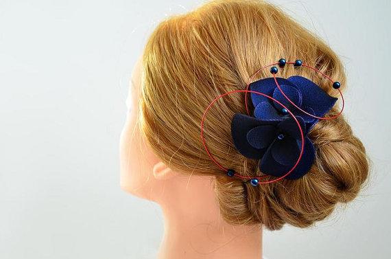 navy blue and red wedding headpiece bridal fascinator wedding hair comb wedding fascinator wedding hair clip bridal hair accessories