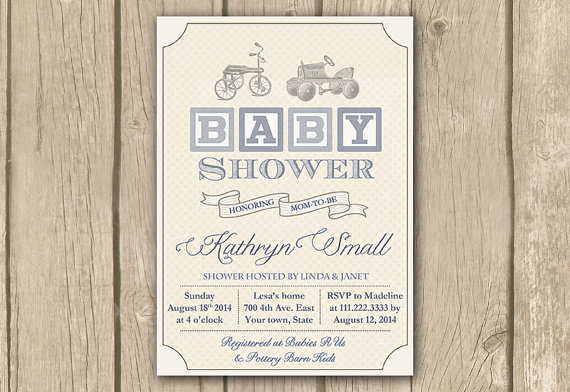 Vintage Toys Baby Shower Invitation