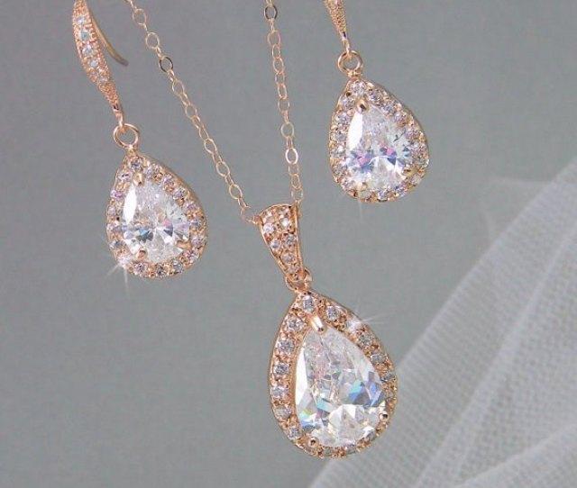Rose Gold Bridal Set Bridesmaids Jewelry Set Crystal Pendant And Earrings Wedding Jewellery Ariel Rose Gold Bridal Jewelry Set