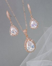 Rose Gold Bridal Set, Bridesmaids Jewelry Set, Crystal