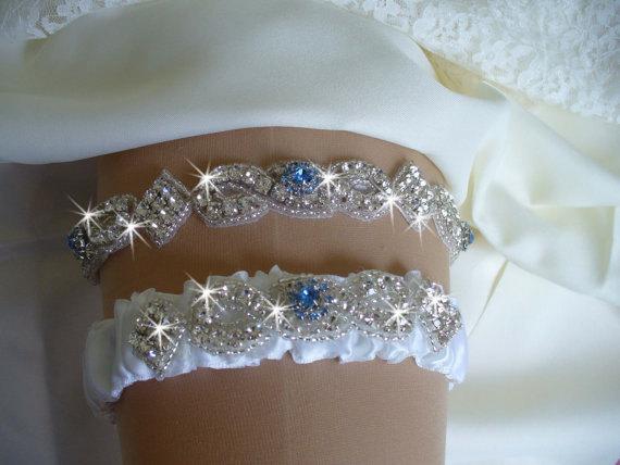 Something Blue Wedding Garter Set Rhinestone Bridal Garter Belts