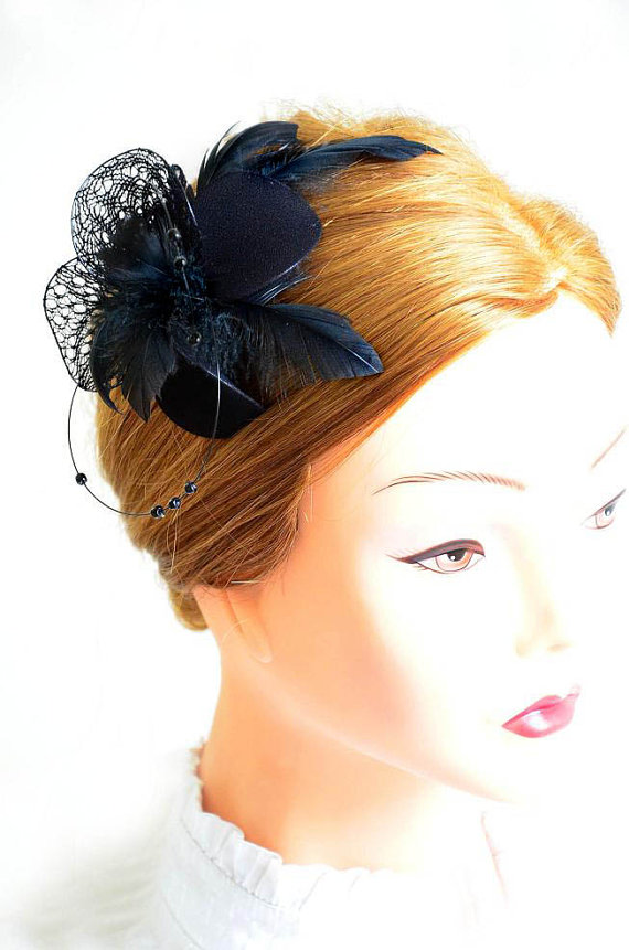 black feather fascinator wedding headpiece bridesmaid feather fascinator black feather hair piece wedding hair accessories