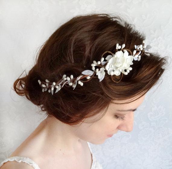 bridal hair accessories wedding hairpiece white flower circlet grace floral crown wedding headpiece flower crown bridal headband