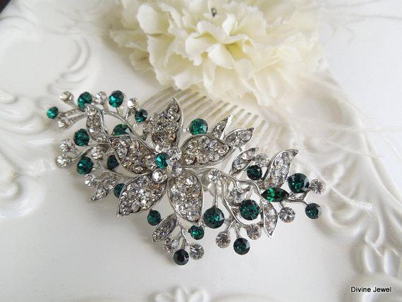 vintage style green leaf rhinestone bridal hair comb bridal green swarovski crystal wedding comb wedding hair accessories green clip katy