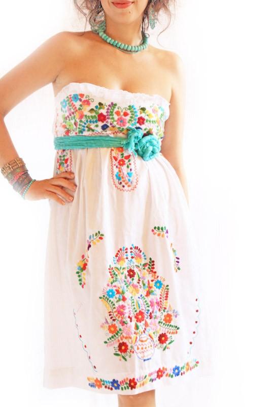 Alegria White Mexican Wedding Dress Bohemian Strapless