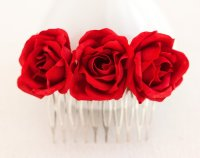 Red Rose Comb, Hair Accessories Bridal, For Women, Hair ...