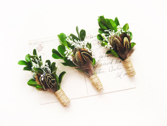 Woodland Boutonniere Rustic Wedding Mens Lapel Pin