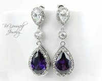 Amethyst Purple Bridal Earrings Sparkly Cubic Zirconia ...