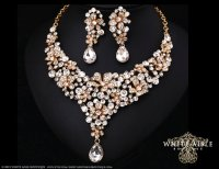 Crystal Wedding Jewelry Set, Gold Statement Necklace ...