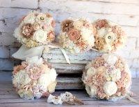 Wedding Bouquet Set, Fabric Flowers Bridal Bouquet
