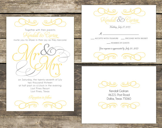 Printable Wedding Invitation Suite Diy Mr And Mrs Yellow