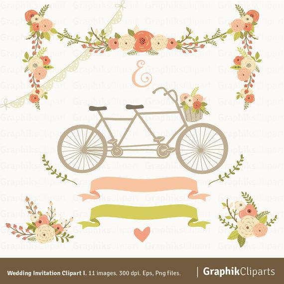 wedding invitation clipart i floral garland tandem flowers bouquet laurels 11 images 300 dpi eps png files instant download 2273540 weddbook
