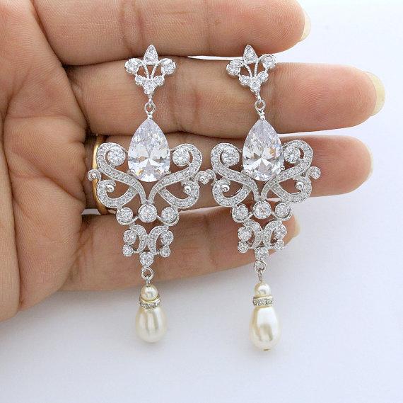 Wedding Chandelier Earrings Long Crystal Bridal Jewelry Cubic Zirconia Vintage Style Pearl Drop