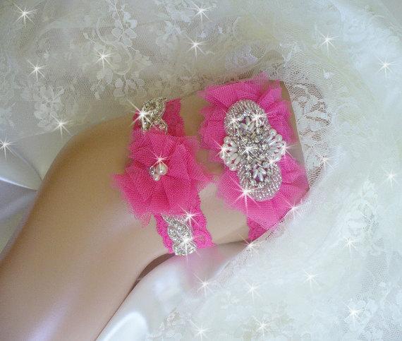 Hot Pink Prom Garter Wedding Garter Set Bling Garters Wedding