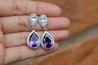 Purple Wedding Jewelry , Purple Earring , Amethyst Earring ...