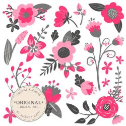 Premium Hot Pink Floral Clipart & Flower Vectors Pink Flowers Vintage Flowers Flower Clip Art Vector Flowers #2275149 Weddbook