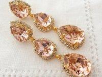 Blush Pink LONG Chandelier Earrings, Drop Earrings, Dangle ...