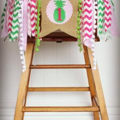 Age For High Chair Accent Swivel Pineapple Birthday Highchair Banner Party Photo Prop Bunting Backdrop Pink Green Cake Smash Summer One