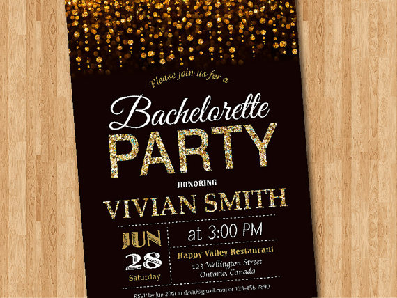 Bachelorette Party Invitation Gold Glitter Bachelorette