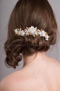 Bridal Hair Accessory, Ivory And Gold Color Wedding Hair ...