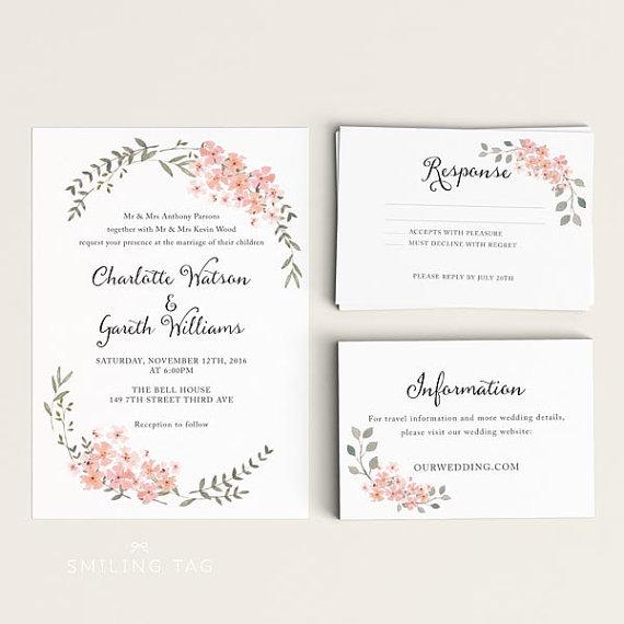 Rsvp Wedding Card Size Printable Invitation Set Watercolor Fl Garden Ready