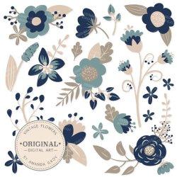SPRING SALE Premium Navy Blue Floral Clipart & Flower Vectors Navy Flowers Vintage Flowers Flower Clip Art Vector Flowers #2278645 Weddbook