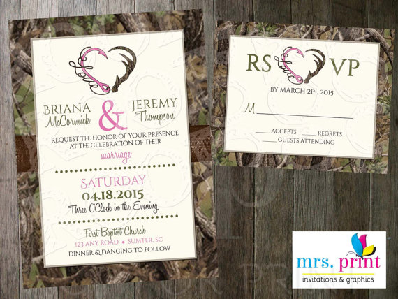 Hooked On Love Camo Wedding Invitation And Rsvp Card