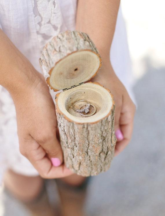 Rustic Wood Ring Bearer Pillow Box Alternative Tree Stump