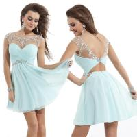 2015 New Design Prom Dresses Sheer High Neckline Backless ...