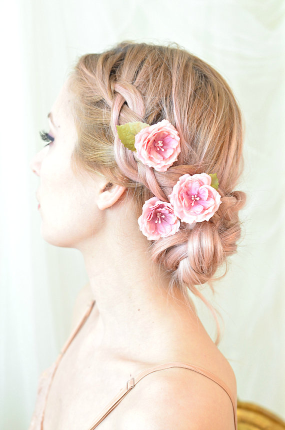 rose hair pins pink flower clips whimsical floral clip wedding hair piece bridal hair accessories