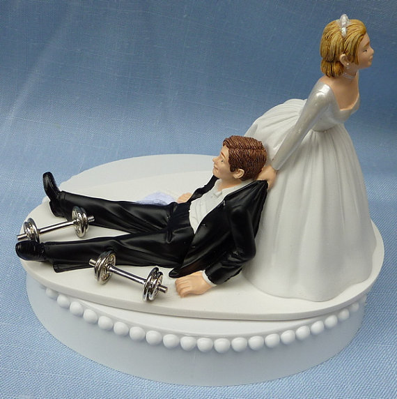 Wedding Cake Topper Weightlifting Weights Workout