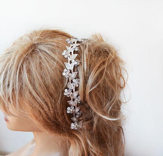 Silver Sparkly Headband, Silver Hair Accessories ,Silver