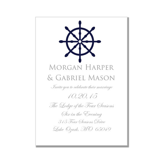 Nautical Wedding Invitation Template-
