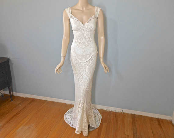 Cream Mermaid WEDDING Dress VINTAGE BoHo Wedding Dress