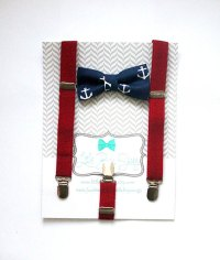Nautical Bow Tie Suspender Set..Boys Bow Tie..Bow Tie And ...