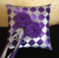Wedding Ring Bearer Pillow, Silver Purple Or Custom Made